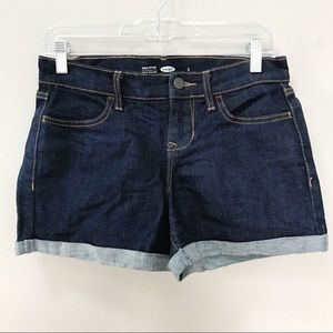 Old Navy Dark Wash Cuffed Denim Jean Shorts 2 EUC